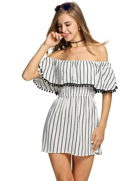 e6c6395aeed6 Buy Off Shoulder Ruffles Striped Tassel A-Line Going Out Dress products  from Loverchic China