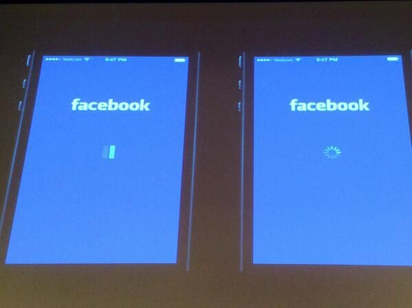 """""""Facebook did A/B testing to determine that users blamed FB on left, iOS on right, for slowness."""""""