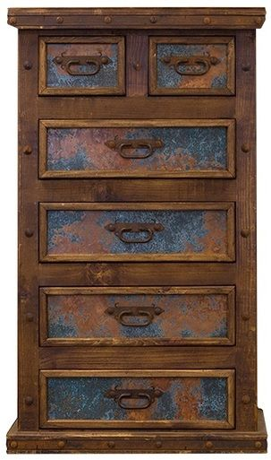 Tall Six Drawer Dresser w/ Turquoise Copper - Pueblo Viejo Imports