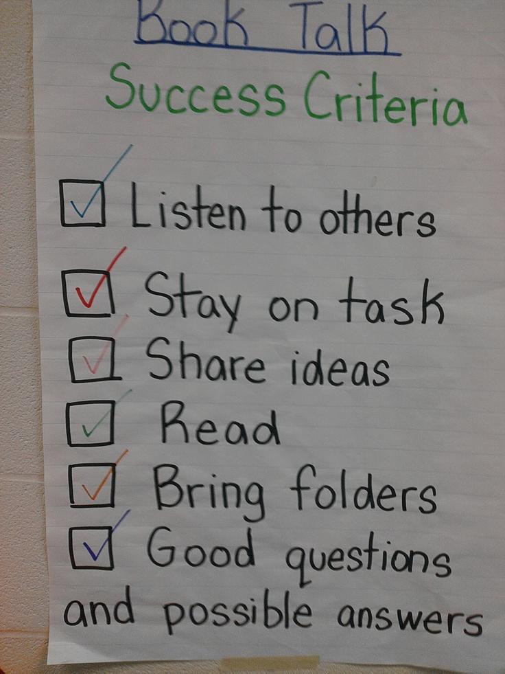 Co-Created success criteria for Lit Circles | Teaching ...