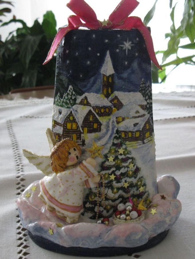 Tegolina di Natale dipinta a mano con angioletto in pasta modellabile