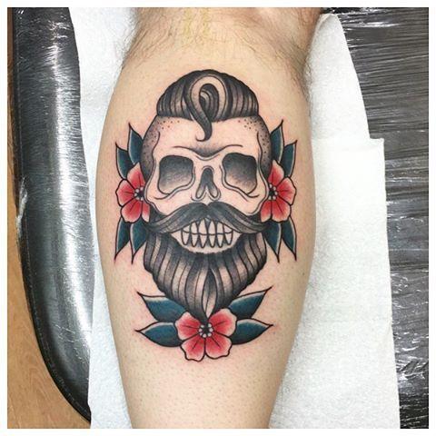 Skull tattoo, bearded skull, beard, traditional tattoo