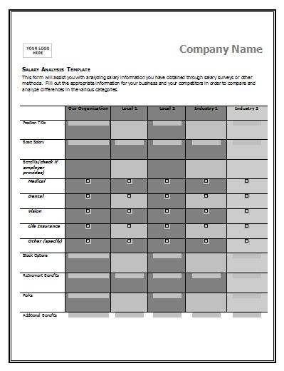A salary comparison chart template is made to compare and contrast the salaries being paid in the market for specific job positions by different