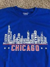 Chicago Cubs Baseball Team Skyline T Shirt by CHICAGOFANAPPAREL