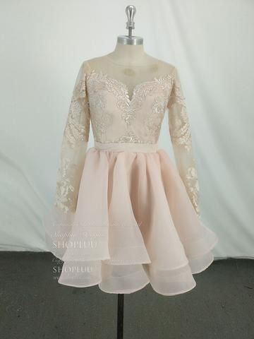 9aa9e32f196f Pink round neck tulle lace short prom dress, pink homecoming dress in 2019    Weddings   Prom dresses, Dresses, Burgundy evening dress