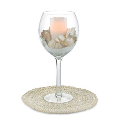191 best candles holders images on pinterest candle for Beach wine glass candle holders