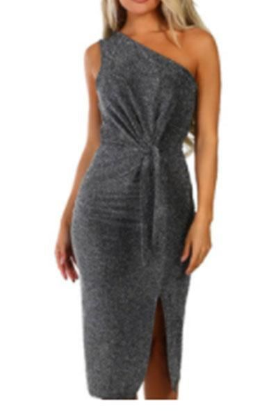 Bright Silk Slanted Shoulder Strapless Bodycon Dress 1