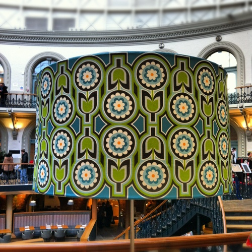 Large Retro Lampshade seen here at the beautiful surroundings of the Leeds Corn Exchange