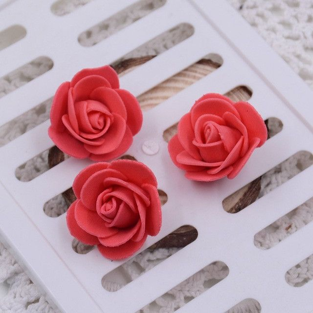 50pcs 19Colors 3cm Foam Small Foam Rose Artificial Flower Wedding Festive Decoration Handmade Clothing Shoe Box Accessories Rosa