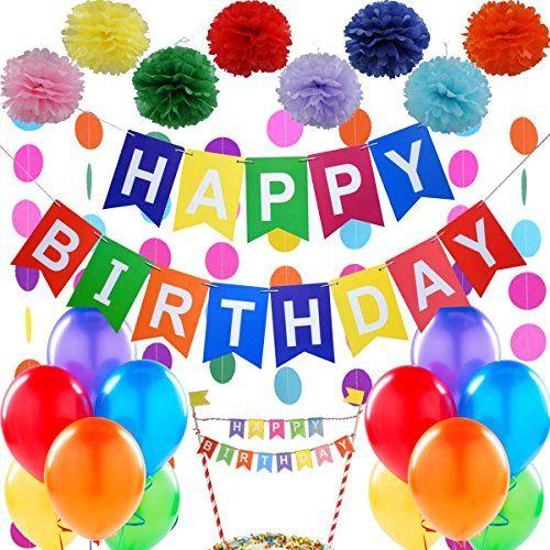 """Kit de décoration de fête d'anniversaire – 1 Banderole Banniere de Joyeux Anniversaire """"Happy Birthday"""" + Set de 6 Pompon Fleur + 1…"""