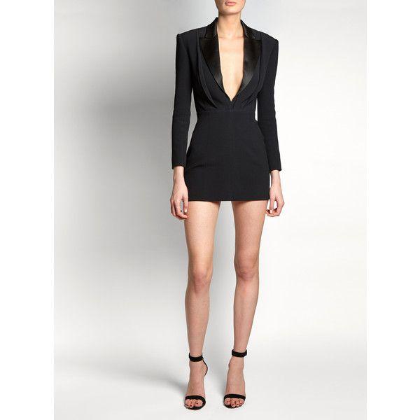 Balmain Satin-lapel mini tuxedo dress ($3,307) ❤ liked on Polyvore featuring dresses, plunging v neck dress, tux dress, tuxedo dresses, white v neck dress and v neckline dress