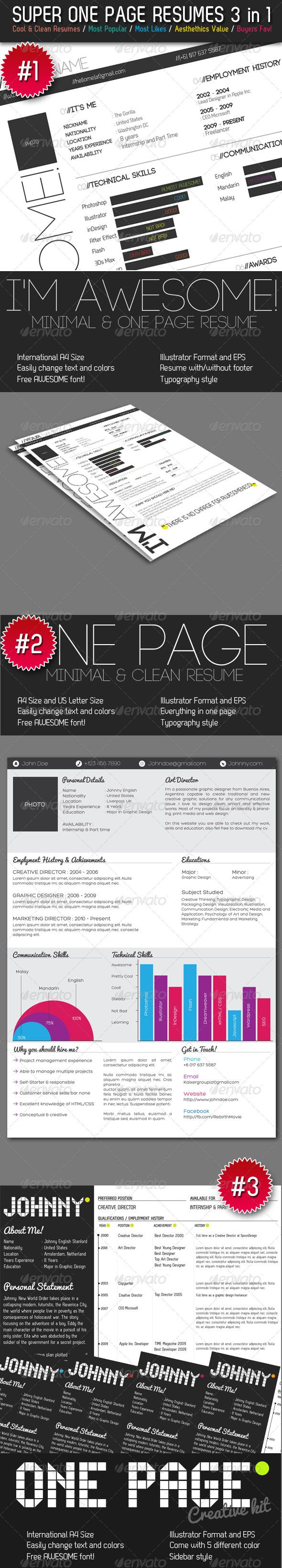 Chronological Resume Samples%0A Super One Page Resumes Bundle   in