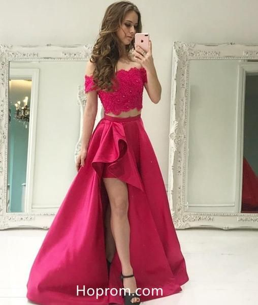 2974e7daae2 Two Piece Off Shoulder Lace Beaded Prom Dress with Pockets