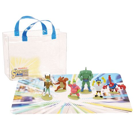 You will love this product from Avon: The Sponge Bob Movie 8 Piece Toy Set 29.99 Make a splash with SpongeBob!  Have a blast with SpongeBob and his friends with this cool set of 6 figurines, a play mat and carrying case!