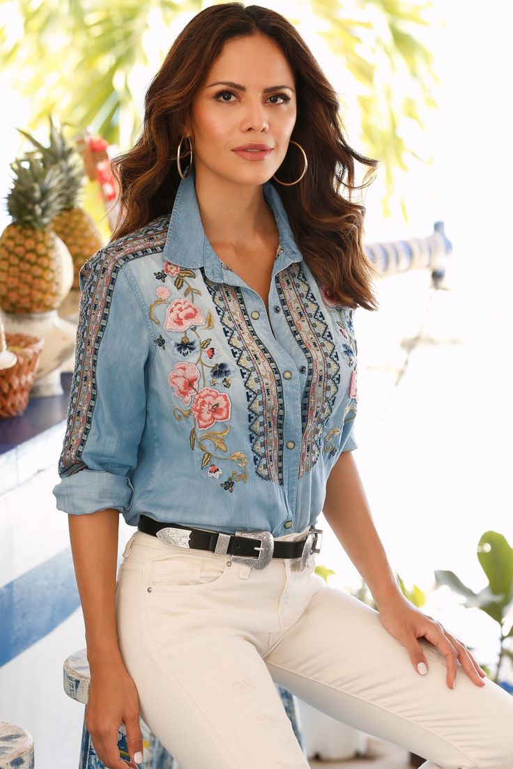 Boho Style | Women's Embroidered Denim Shirt.