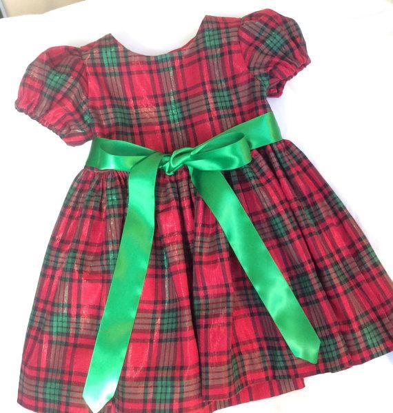 christmas dress girls dress plaid dress red green by - Girls Plaid Christmas Dress