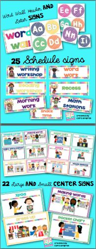 Classroom center signs, word wall, and schedule signs for your classroom decor $3.50