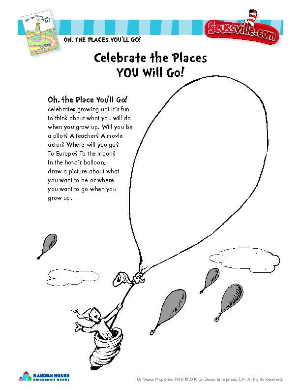 Oh The Places You Ll Go Preschool Graduation Ideas Drawing Youll Dr Seuss Coloring Pages Green Eggs And Ham Cat In Hat