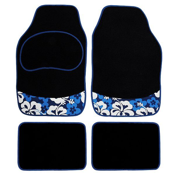 WOLTU AM7158 Auto Fußmatten Auto Teppich, Automatten Velours, 4-teilig, universal, Flower&Blumen für Frau Damen, Schwarz/Blau | Woltu