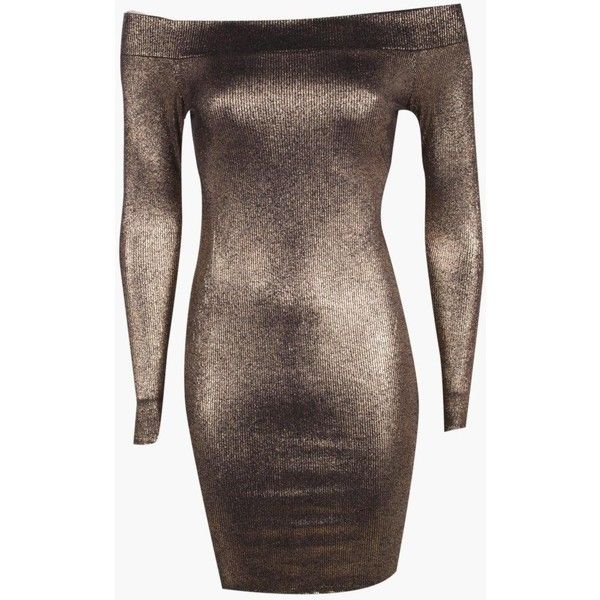 Boohoo Petite Sara Off The Shoulder Metallic Bodycon Dress | Boohoo ($10) ❤ liked on Polyvore featuring dresses, brown cocktail dress, off the shoulder bodycon dress, body con dresses, off the shoulder dress and off shoulder cocktail dress