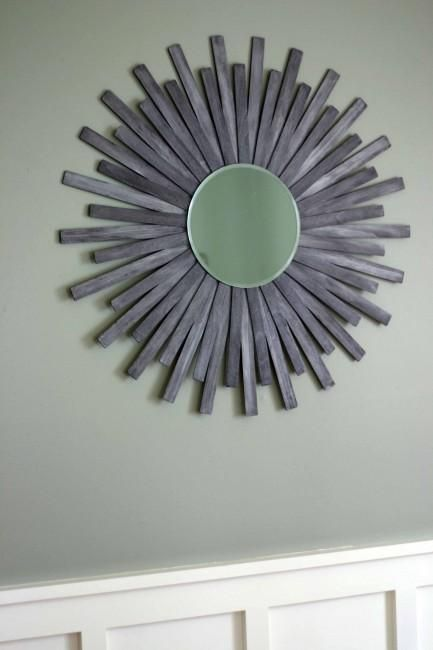 DIY Mirror : DIY Sunburst Wall Mirror Of Paint Sticks