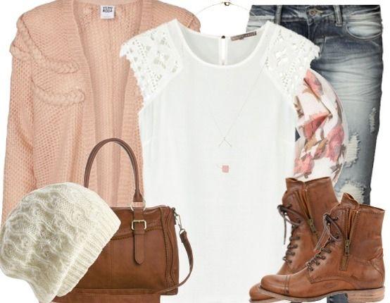Verspieltes Herbst-Outfit mit kuscheligem Cardigan und Schnürstiefeln! #fall