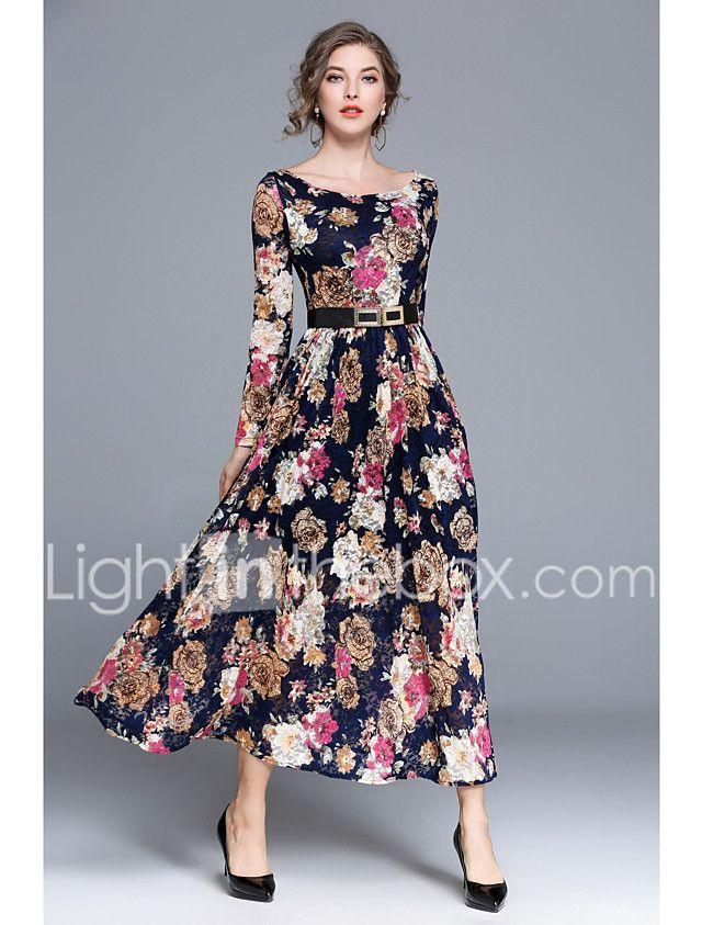 681cb83c6f001 Mujer Fiesta Casual Boho Línea A Vestido Floral Alta cintura Maxi ...