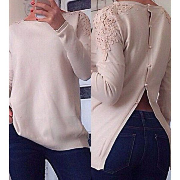 Stylish Round Collar Lace Splicing Button Design Long Sleeve Knitwear For Women