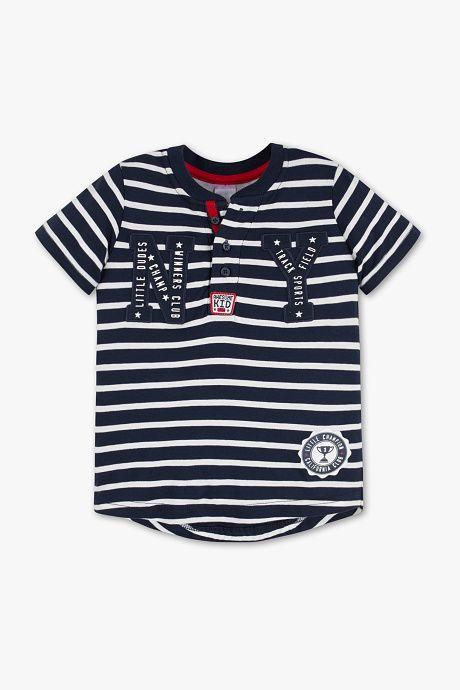 756facb77 Niños - Camiseta de manga corta - De rayas - azul oscuro   blanco