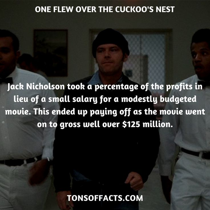 Jack Nicholson took a percentage of the profits in lieu of a small salary for a modestly budgeted movie. This ended up paying off as the movie went on to gross well over $125 million. #oneflewoverthecuckoosnest #movies #interesting #facts #fact #trivia #awesome #amazing #1 #memes #moviefacts #movietrivia #oneflewoverthecuckoosnestfacts #oneflewoverthecuckoosnesttrivia