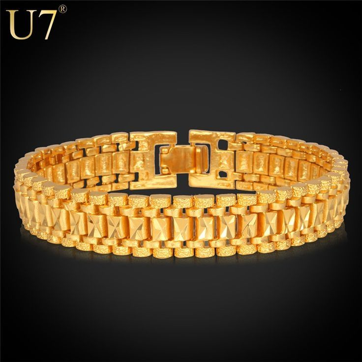 U7 Bracelet Men Jewelry Rock Style Black Gun/Yellow Gold/Platinum Plated 19cm 12MM Chunky Chain Link Bracelet Wholesale H550