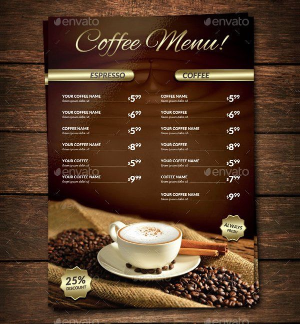 Coffee Shop Menu Template Inspirational 22 Coffee Menu Templates Free Psd Eps Illustrator Png Coffee Shop Menu Coffee Menu Menu Design Template