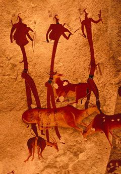The San people lived in the mountainous Drakensberg area of South Africa for more than 4,000 years, leaving behind them outstanding rock art which throws much light on their way of life and their beliefs.