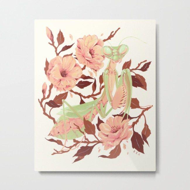 Praying mantis and flowers Spring metal print by Bexelbee