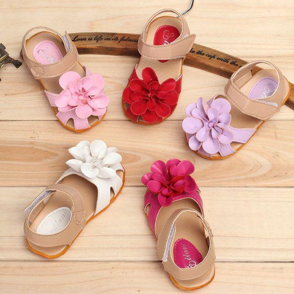 Summer Toddler Girls Sandals Princess Flowers Soft Flat Shoes
