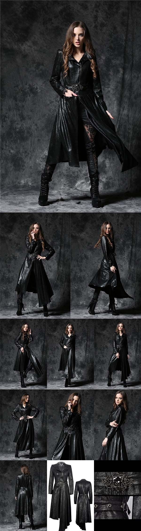 Dark In Love Gothique Asymmetric Ladies Gothic Coat with Ghost Belt - This is a stunning black ladies gothic jacket has an asymmetric cut with one side longer that the other at the front. There is a zip front fastening and buckle belt at the waist with an eyecatching ghost skull detail. From ANGEL CLOTHING https://www.angelclothing.co.uk