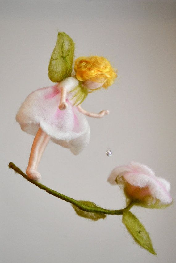 Flower Fairy Mobile Waldorf Inspired Needle Felted : by MagicWool ♡