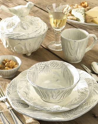 Pine bark and bird motifs are handcrafted on stunning accessories of Pineta Dinnerware. & 97 best vietri dinnerware images on Pinterest | Dinnerware Cutlery ...
