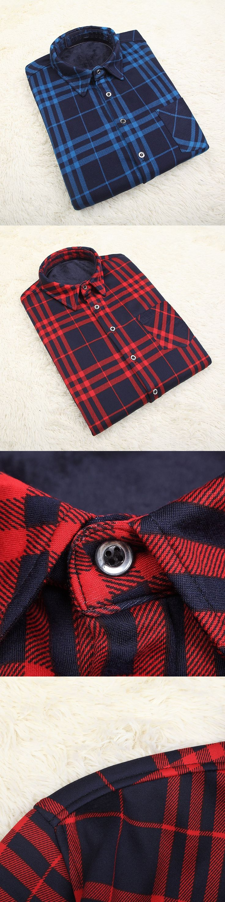 2016 Men Red Plaid Shirt Fashion Brand Regular Fit Casual Shirt Thicken velvet Cotton Long Sleeve Men Flannel Social Dress Shirt
