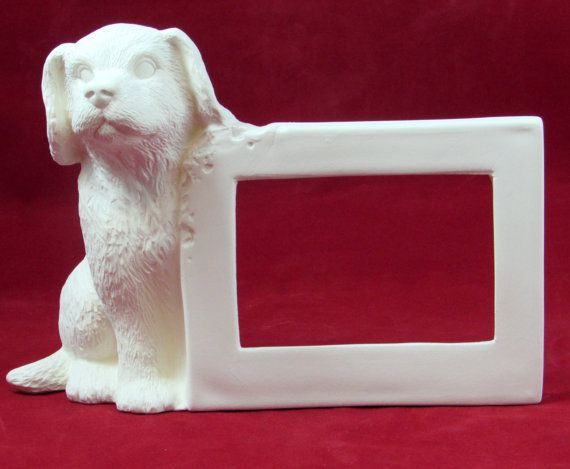 Ready to paint ceramic doggie picture frame! Great for pictures of family, friends or....doggies!! Makes a great gift for a dog lover. Paint it