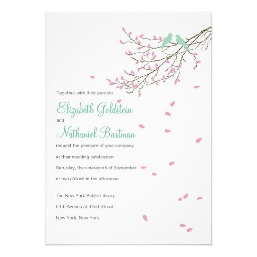 Love Birds Wedding Invitation In Pink And Blue