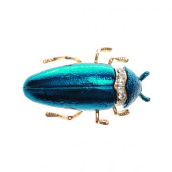 ZIELONY KOT blue bug beetle brooch