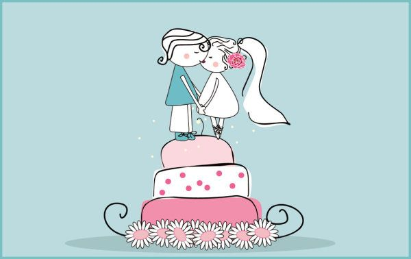 Wedding Cake Images Cartoon : Cute cartoon bride and groom on a pink wedding cake ...