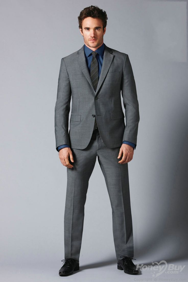 Double Buttons Notch Lapel Grey Suits for Wedding Groom | D and ...