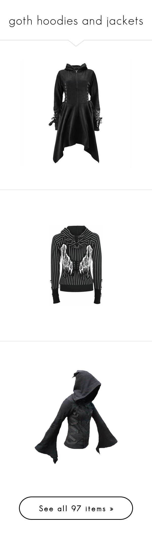 """goth hoodies and jackets"" by octoburfrost ❤ liked on Polyvore featuring outerwear, jackets, coats, goth, poizen industries, black jacket, gothic jacket, goth jacket, tops and hoodies"