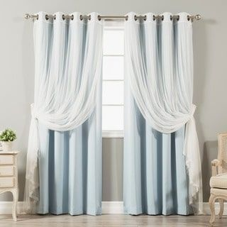 4-piece Sheer Blackout Grommet Top Curtain Panels | Overstock.com Shopping - The Best Deals on Curtains