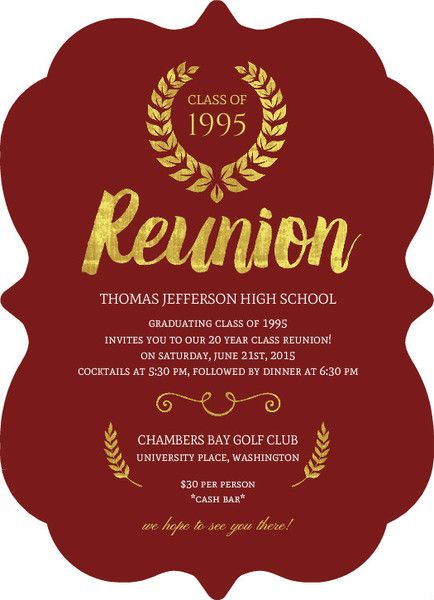 Beautiful Faux Gold Foil Class Reunion Invitation by PurpleTrail.com