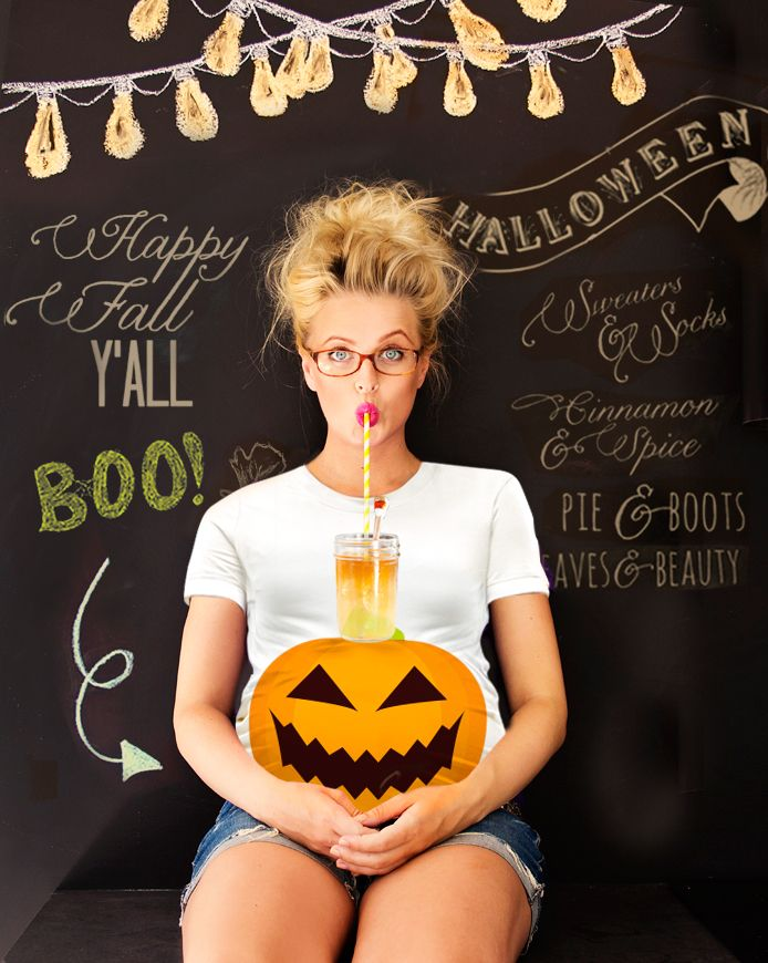 Pumpkin Halloween Maternity T-shirt by Mamagama Pregnant Pregnancy