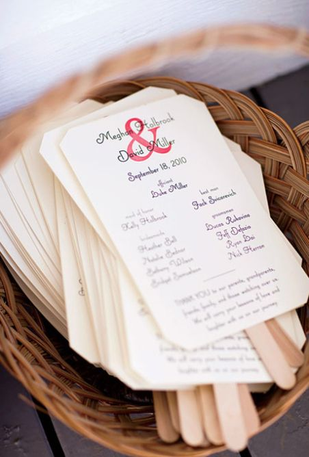 For an outdoor summer wedding, use Popsicle sticks to make programs that double as fans so guests can keep cool.