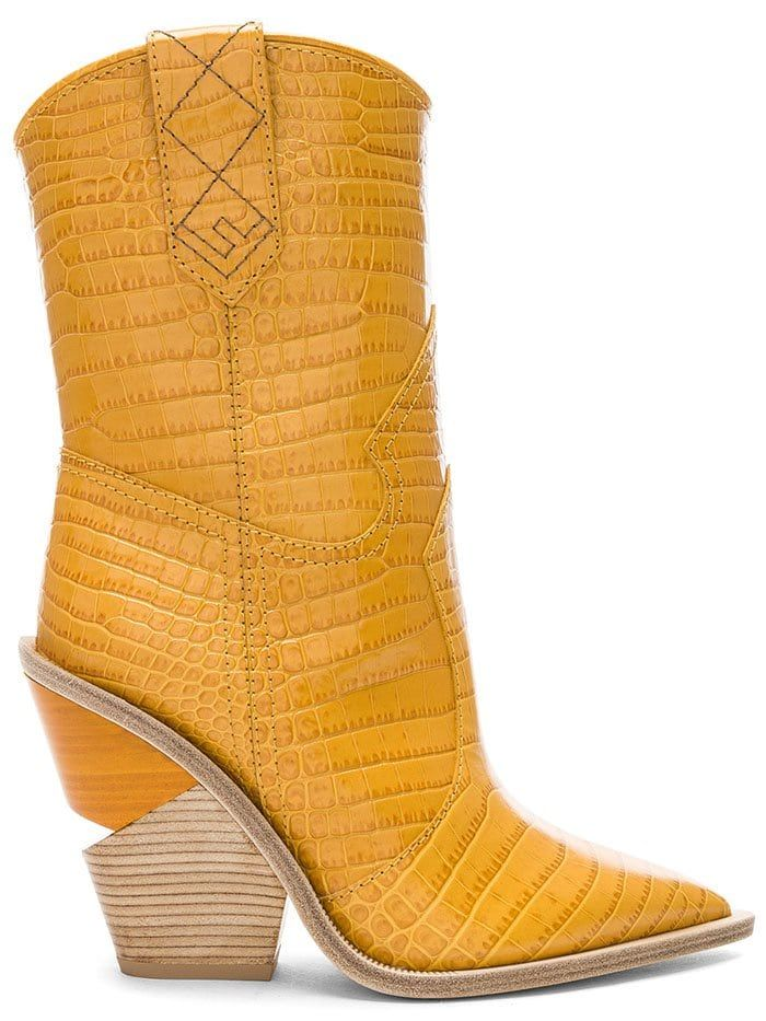 9906be8f679a8 Fendi Notched-Heel Cowboy Boots in Ochre Leather